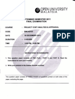 Cost Benefit Analysis Exam Paper - September 2011