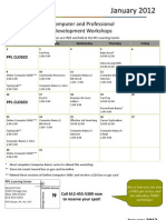 January 2012 Workshop Calendar