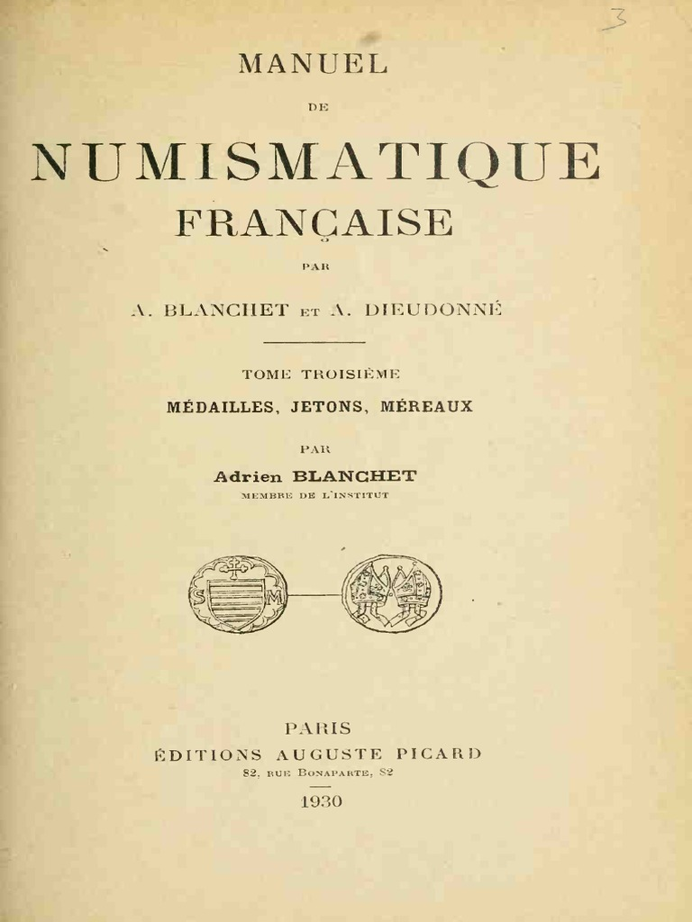 23f0531cb1b848 Manuel de numismatique francaise. T. III  Médailles, jetons, méreaux ...
