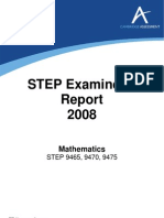 STEP 2008 Examiners' Report