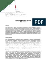 Ph.D. Course Qualitative Research