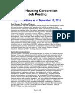 Job Posting Dec 13 2011