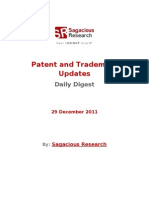 Sagacious Research - Patent and  Trademark Updates – 29-December 2011