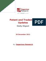 Sagacious Research - Patent and  Trademark Updates – 29-December 2011
