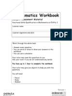 SAM Entry Level Mathematics Workbook E1 2011