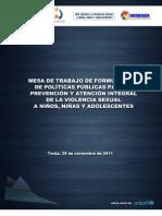 Mesa de Trabajo  para la Prevención y Atención Integral de la Vio. Sex. a NNA