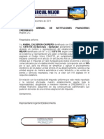 Carta de solicitud de cálculo automático de IVA