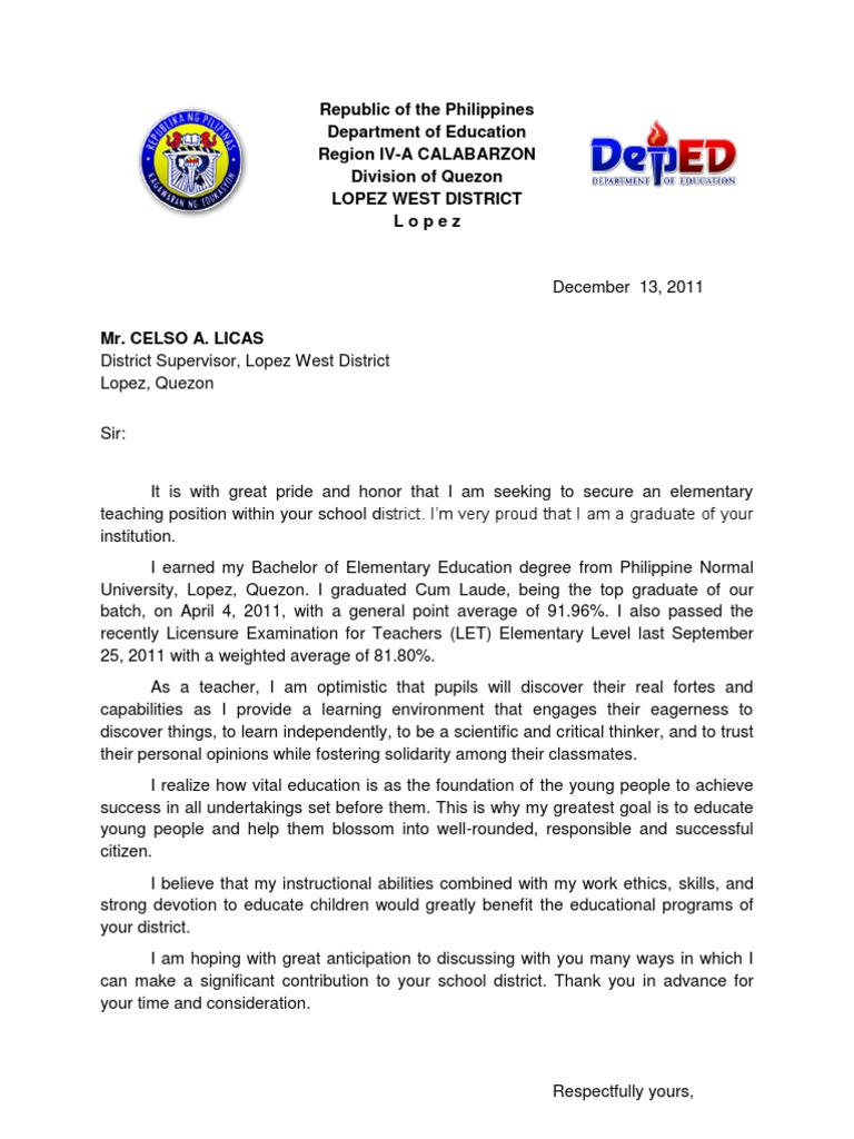 application letter for philippines