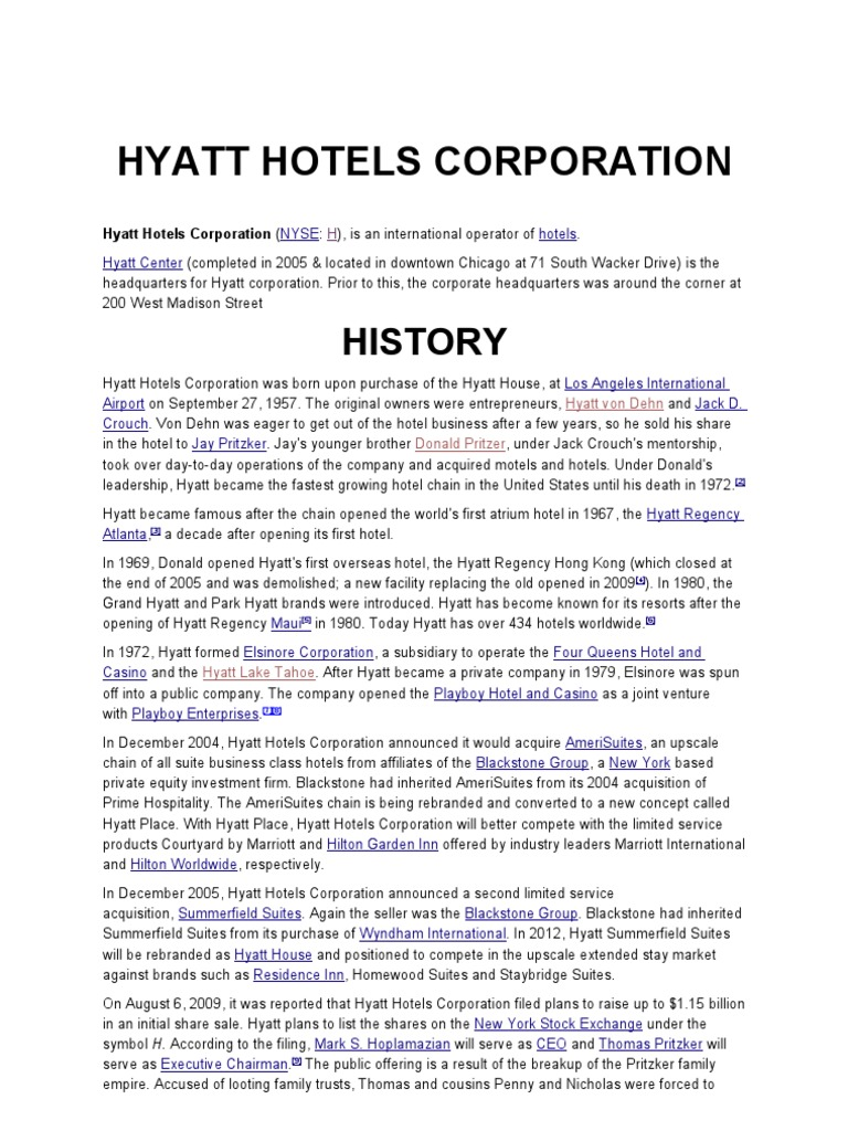 Hyatt Hotels Corporation Hospitality Industry Hotel And