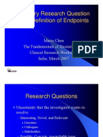 Primary Research Question and Definition of Endpoints India 2007