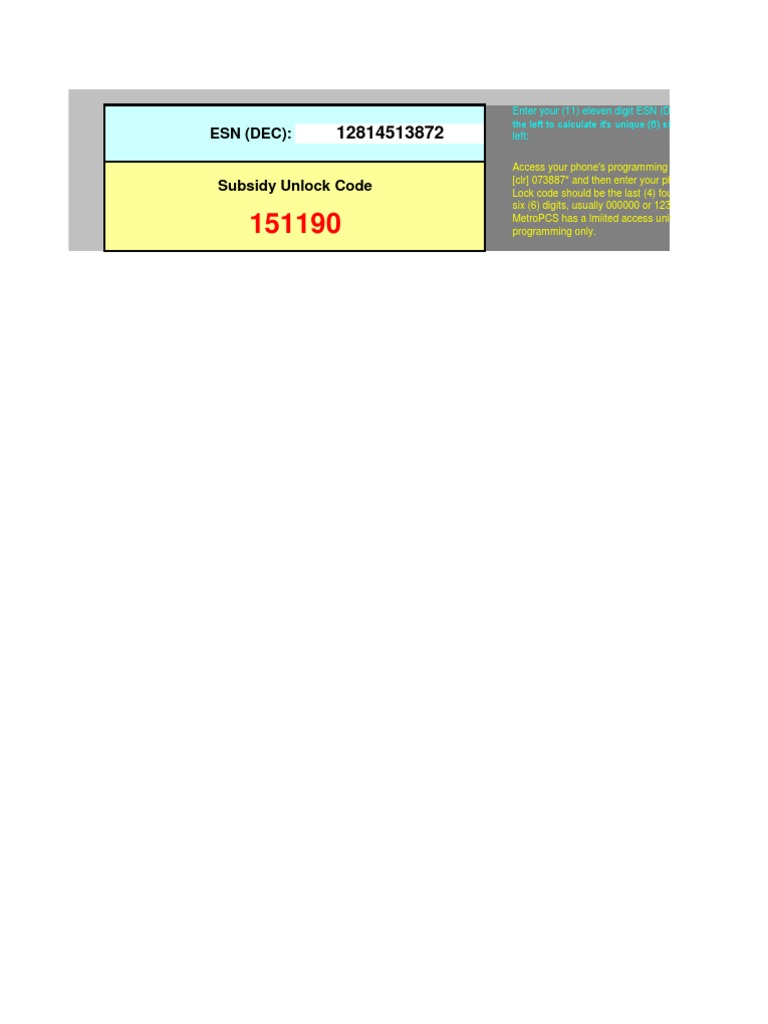 MetroPCS MSL SPC Code Calculator