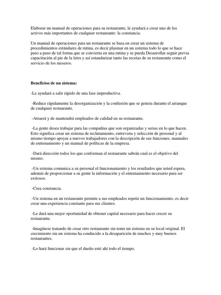 Elaborar Un Manual de Operaciones Para Su Restaurante