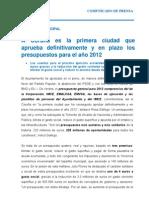 26-12-11 ACTIVIDAD MUNICIPAL_Aprobación definitiva presupuestos
