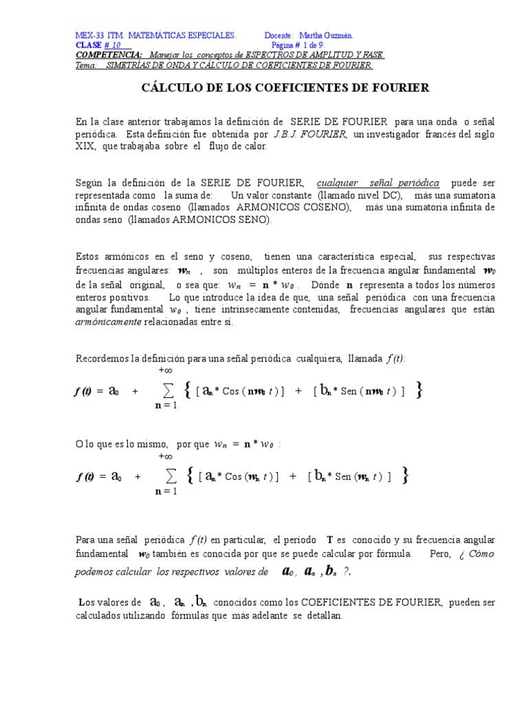 Clase 3 coeficientes de fourier y simetras de onda urtaz Gallery