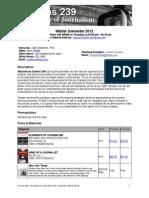 Comms 239 Syllabus Winter 2012