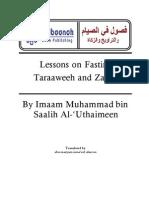 Lessons on Fasting, Taraaweeh and Zakaat by Shaikh Muhammad Bin Saalih Al-'Uthaimeen