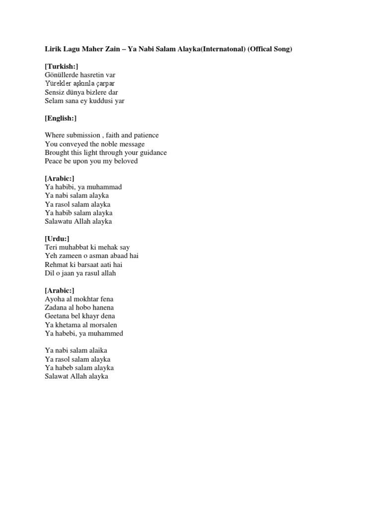 Lirik Lagu Maher Zain Ya Habib Salam Alaika
