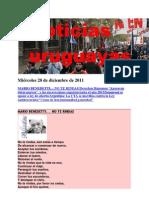 Noticias uruguayas miércoles 28 de diciembre de 2011
