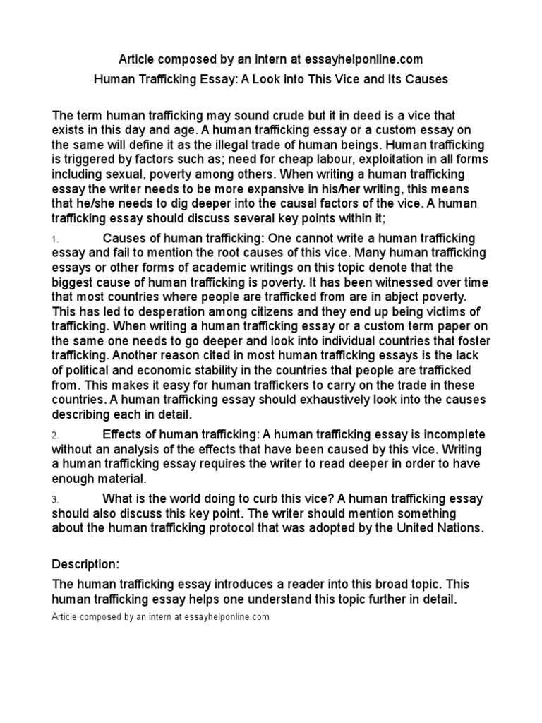 human trafficking essays conclusion