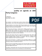Social Inequality on Agenda at 18th Party Congress