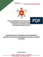 Cronograma de Providncias Para Ingresso e Matrcula Dos Novos Alunos Do CBMDF