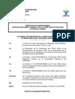 UEMOA:Directive 07-2009:Cpté publ