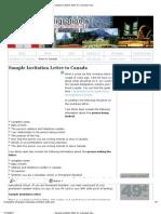 Sample Invitation Letter for Canadian Visa