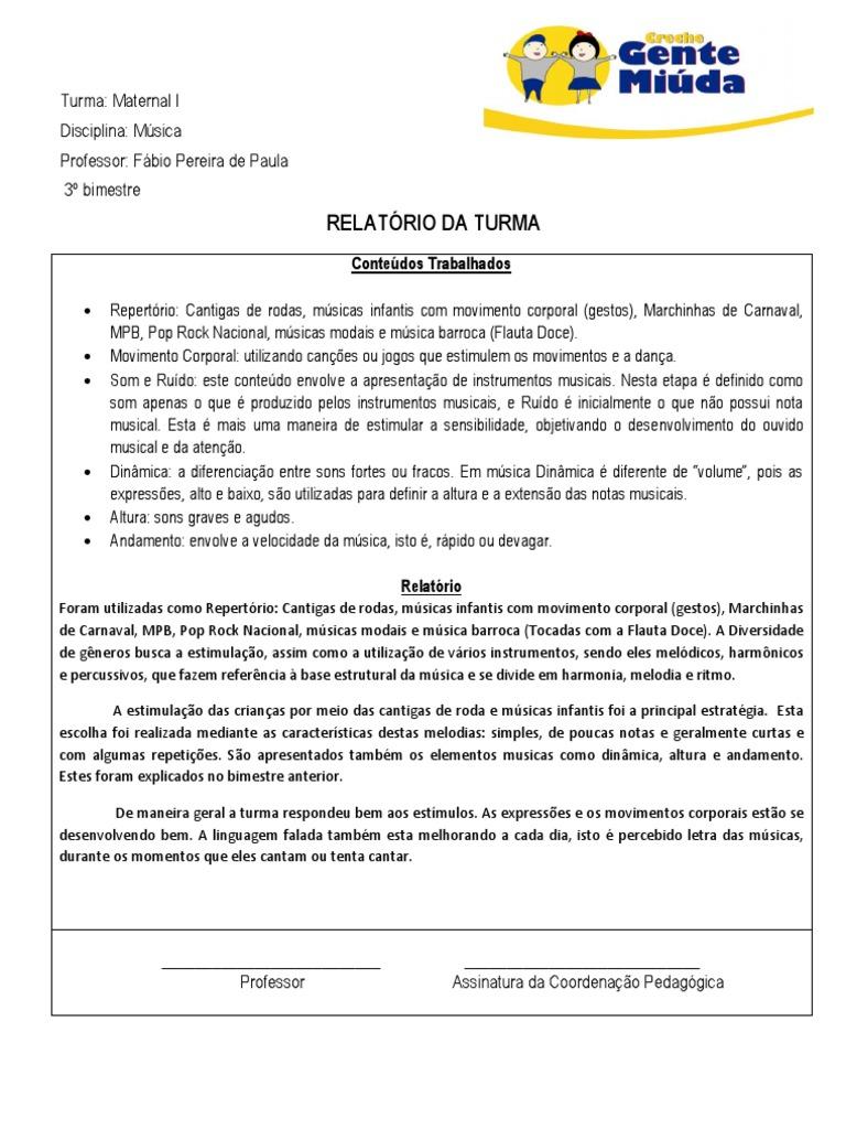 Super Relatório música- berçário e maternal - 3º bimestre CI09