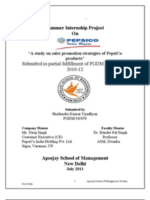 PepsiCo Summer Internship Project | Pepsi Co | Diversity