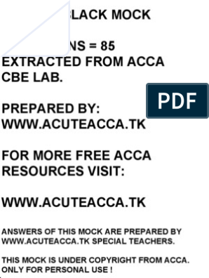 Acca f1 Black Mock | Performance Appraisal | Audit