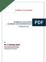 Unit 4 (a)Algebraic&TransdentialEquations