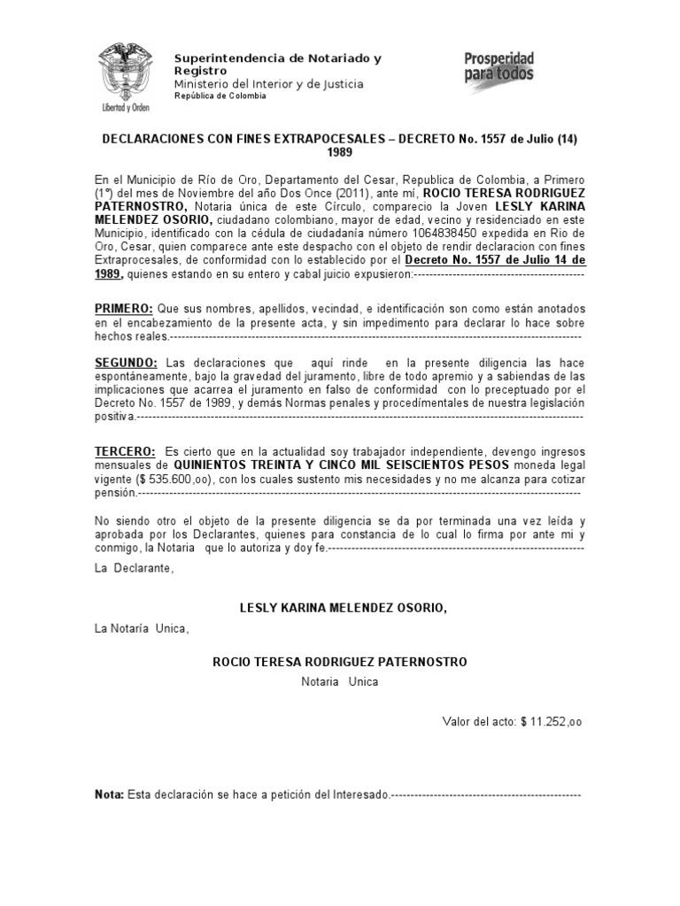 Declaracion extrajuicio nuevo formato for Decreto ministerio del interior