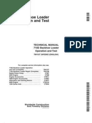 710D Backhoe - Technical Manual (TM1537) | Screw | Loader