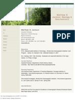 CV - Matthew G Jackson Geology& Geochemistry