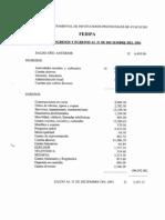 Estado de Ingresos y Egresos Al 31 de Diciembre Del 2001