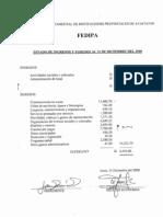 Estado de Ingresos y Egresos Al 31 de Diciembre Del 2000