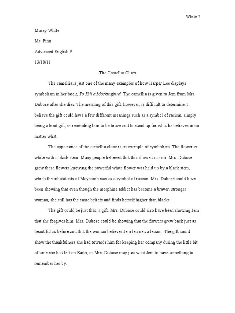 Symbolisim In To Kill A Mockingbird Essay To Kill A Mockingbird