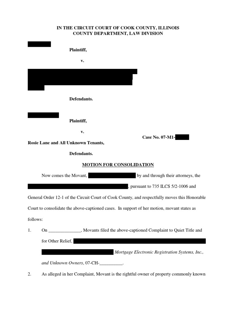 Motion to Consolidate (Eviction Into Quiet Title)[1 ...