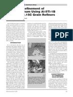 The Grain Refinement of 6063 Aluminum Using Al-5Ti-1B Al-3Ti-0.15C Grain Refiners