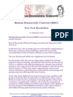 Burma Democratic Concern (BDC) strategy 2012 for democratisation in Burma