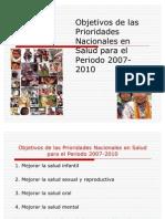 Objetivos de Las Prior Ida Des Nacionales en Salud Para