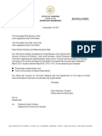 Arizona Office of Auditor General, Initial Followup to Audit CPS 1101, December 2011.