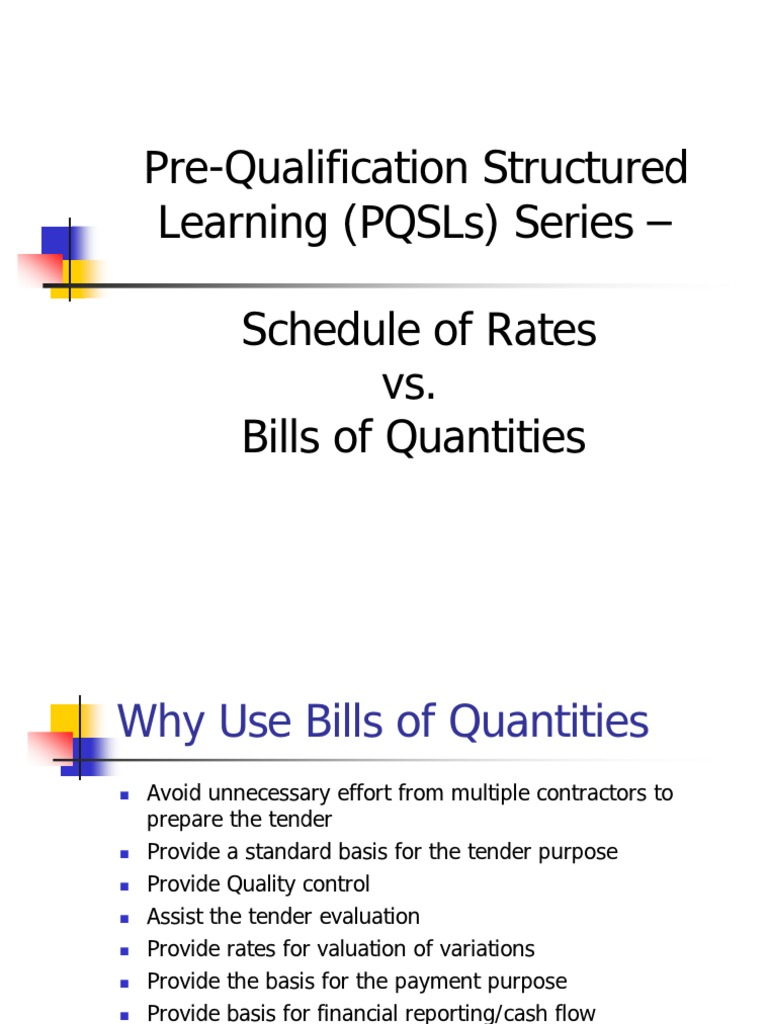 Bill of qty vs schedule of rates specification technical standard bill of qty vs schedule of rates specification technical standard general contractor altavistaventures Choice Image