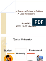 FIT Establishing Research Culture in Pakistan