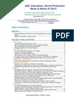 Health, Education, Social Protection News & Notes 01/2012
