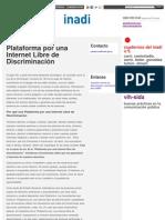 INADI POLITICAS - Plataforma por una Internet Libre de Discriminación _ Inadi