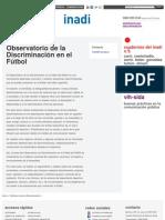 INADI POLITICAS - Observatorio de la Discriminación en el Fútbol _ Inadi