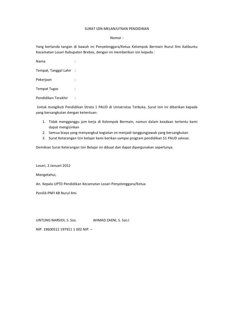 surat izin melanjutkan pendidikan