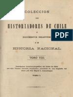 Colección de historiadores de Chile y documentos relativos a la historia nacional. T.VIII. Descripción histórico-jeogr. del Reino de Chile. T.I. 1875
