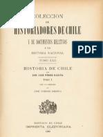Colección de historiadores de Chile y documentos relativos a la historia nacional. T.XXII. Historia de Chile de José Pérez García. T.I. 1900